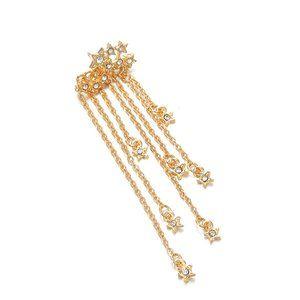 Star Rhinestone Long Tassle Gold Tone Earring